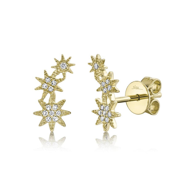 'Celeste' 0.06CT Diamond Star Crawler Stud Earring - 14K Yellow Gold