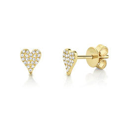 Amor 0.10 Ct. Diamond Pave Heart Stud Earrings - Mini