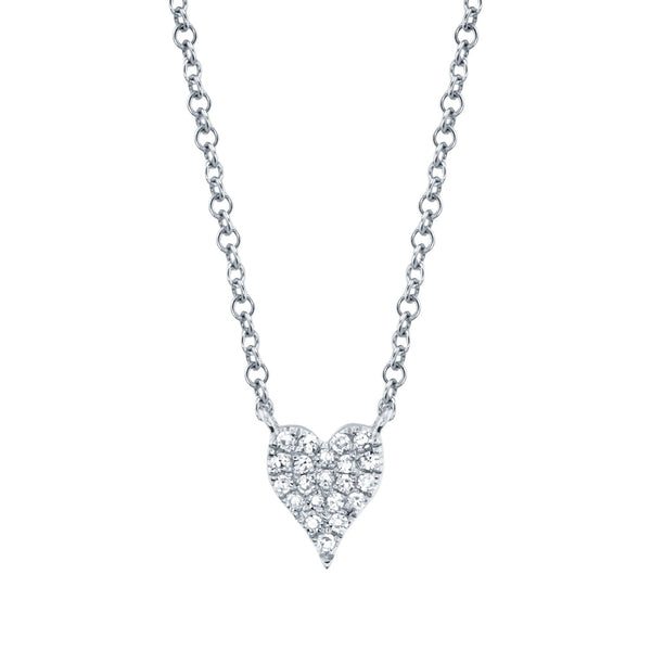 Amor 0.05Ct Diamond Pave Heart Pendant Necklace - Mini