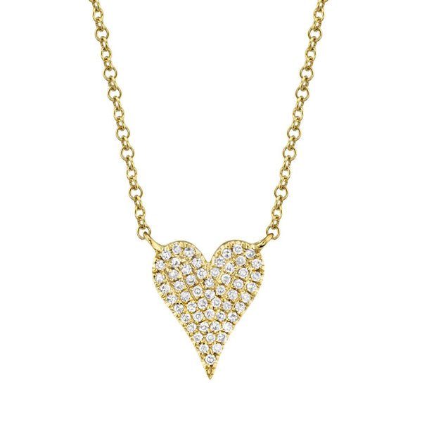 Amor 0.11 Ct Diamond Pave Heart Pendant Necklace - Small