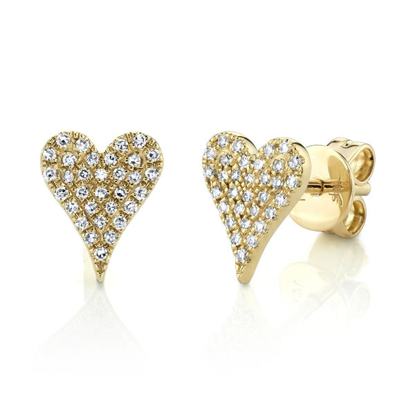 0.14CT DIAMOND PAVE HEART STUD EARRING