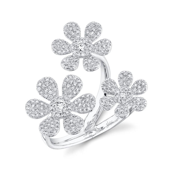 'Fleur Trois' 0.62CT Triple DIAMOND FLOWER RING - 14K WHite Gold