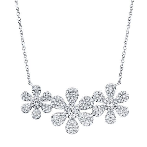 Fleur Trois 0.62 Ct. Diamond Flower Pendant Necklace