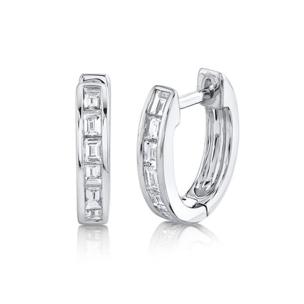 0.33CT DIAMOND BAGUETTE HUGGIE EARRING