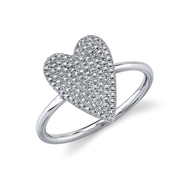 0.26CT DIAMOND PAVE HEART RING