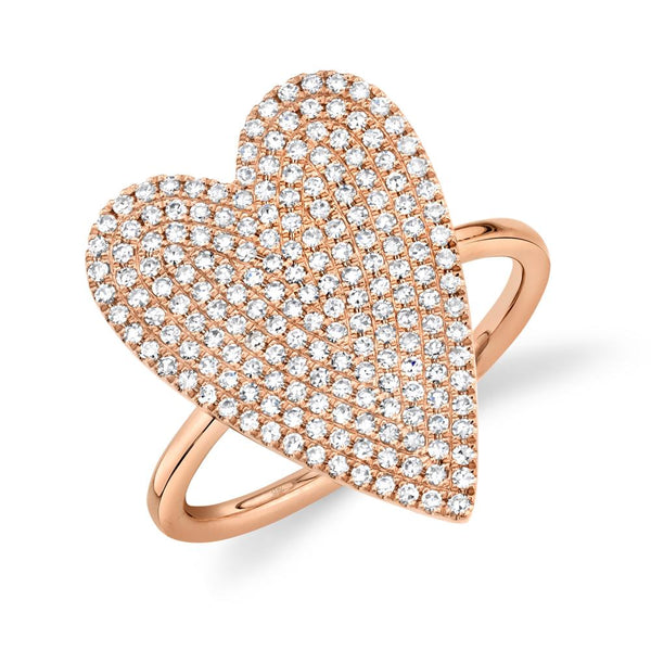 0.56CT DIAMOND PAVE HEART RING
