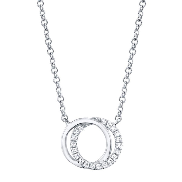 Shy Creation 0.07CT DIAMOND LOVE KNOT CIRCLE NECKLACE - 14K White Gold