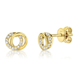 0.09CT DIAMOND LOVE KNOT CIRCLE EARRING