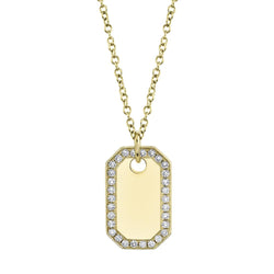0.40CT DIAMOND DOG TAG NECKLACE
