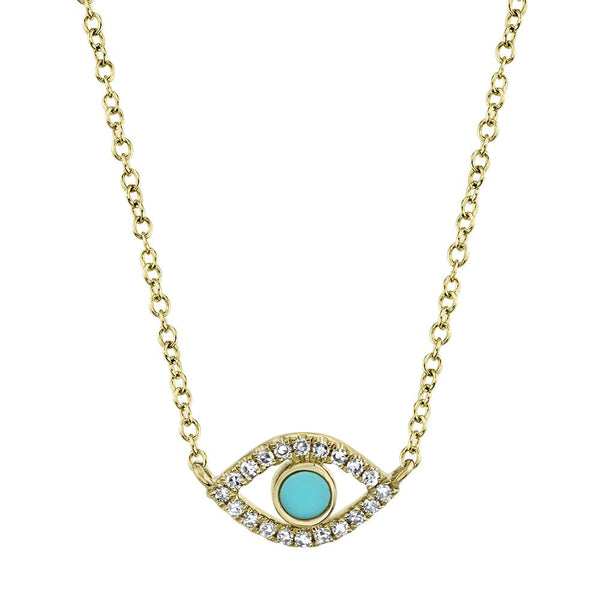 0.06CT DIAMOND & 0.07CT COMPOSITE TURQUOISE EYE NECKLACE