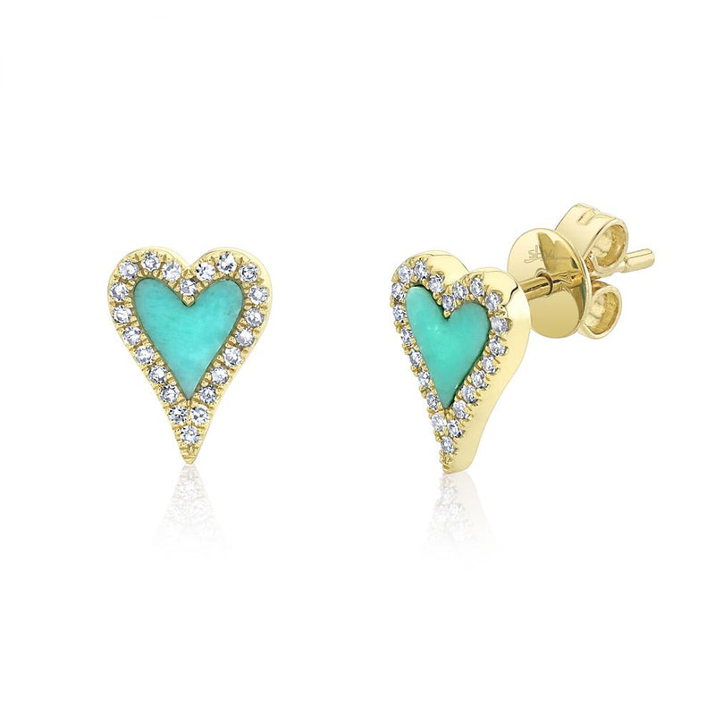 0.13CT DIAMOND & 0.36CT COMPOSITE TURQUOISE HEART STUD EARRING
