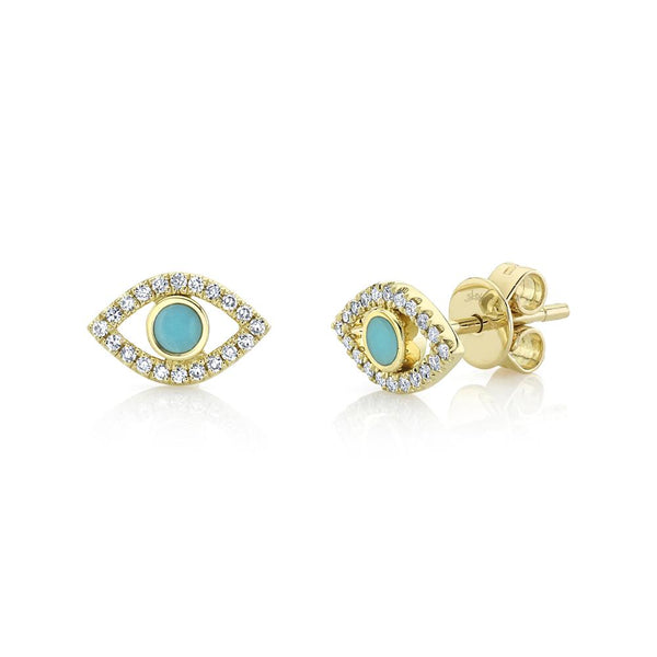 0.12CT DIAMOND & 0.14CT COMPOSITE TURQUOISE EYE STUD EARRING