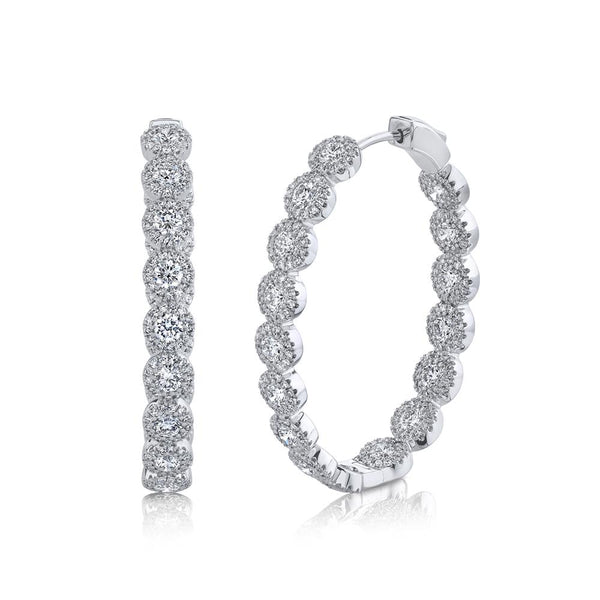 4.14CT DIAMOND OVAL HOOP EARRING
