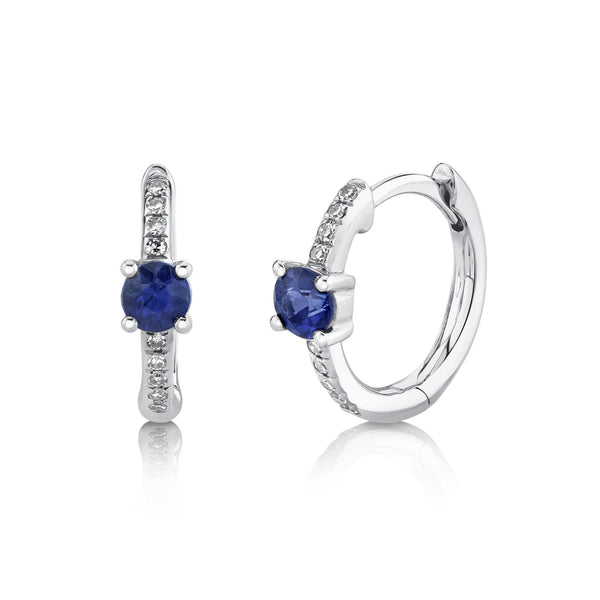 0.06CT DIAMOND & 0.33CT BLUE SAPPHIRE HUGGIE EARRING