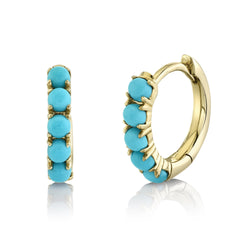 0.43CT COMPOSITE TURQUOISE HUGGIE EARRING