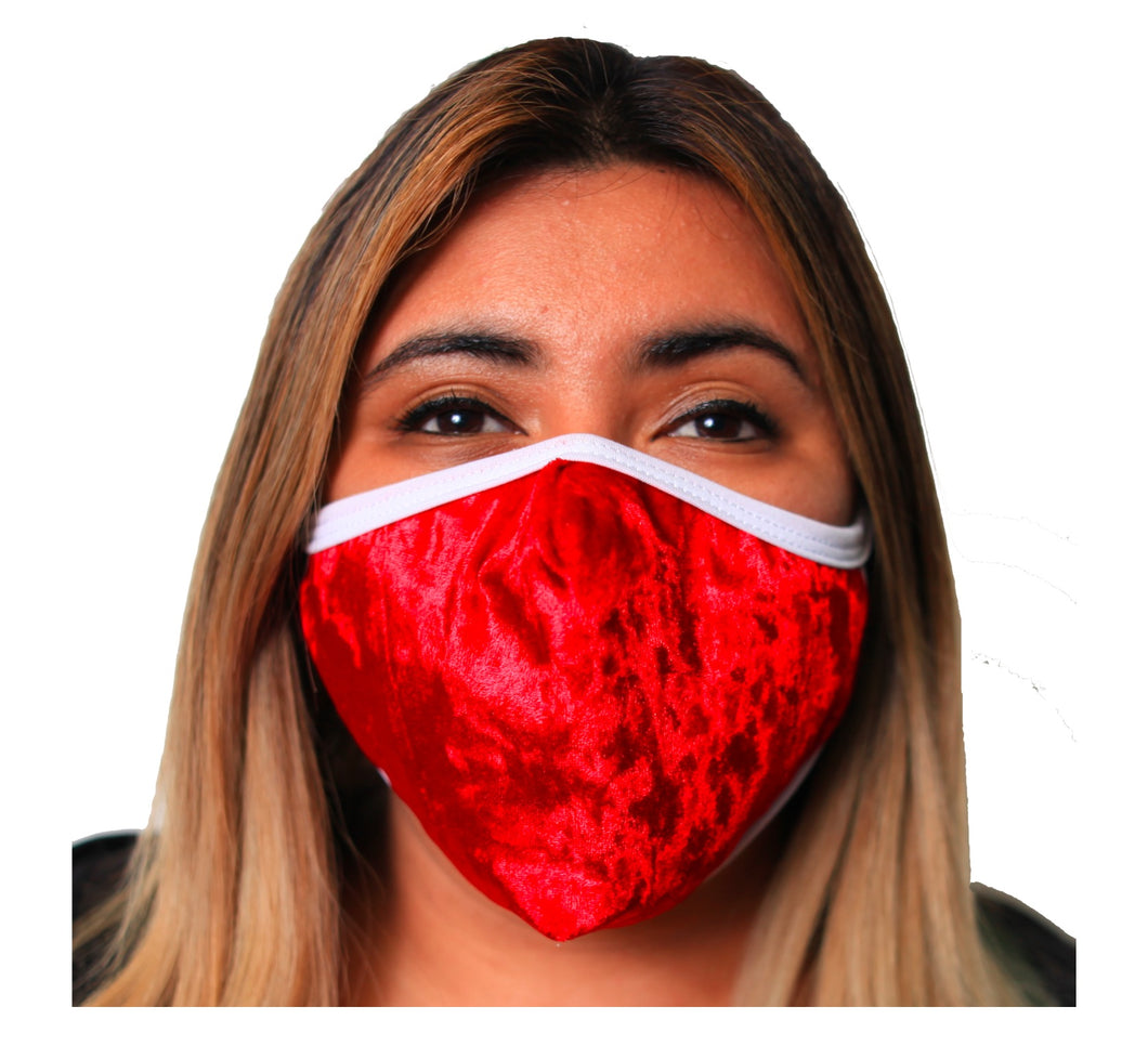 Velvet Holiday Face Mask 3 Layer Fitted