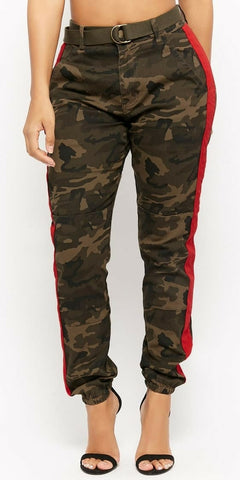 Camo High Waist Joggers Red Stripe