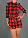 Sale* Flawless Flannel Romper - Sugar Popped  - 1