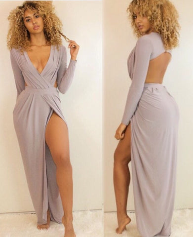 Backless Goddess Maxi Stone Grey - Sugar Popped  - 1