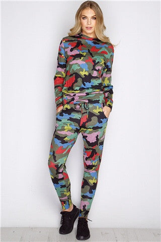 Fitted Glam Sweatsuit Camo Multi - Sugar Popped  - 1