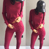Fitted Glam Sweatsuit Wine - Sugar Popped