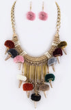 Pom Pom Gold-link Necklace