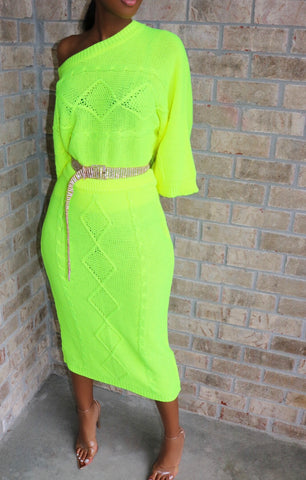 Luxury Lounge Midi Oversized Set Neon
