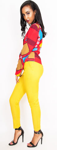 Casual Belted MUSTARD Pants - Sugar Popped  - 1