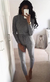 Fitted Glam Sweatsuit Grey - Sugar Popped  - 5