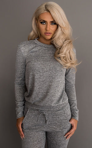 Fitted Glam Sweatsuit Grey - Sugar Popped  - 1