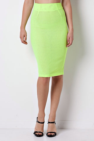 Sale* Neon Scuba Skirt Lime - Sugar Popped  - 1