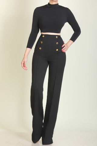 Nautical High Waist Pants Black - Sugar Popped  - 2