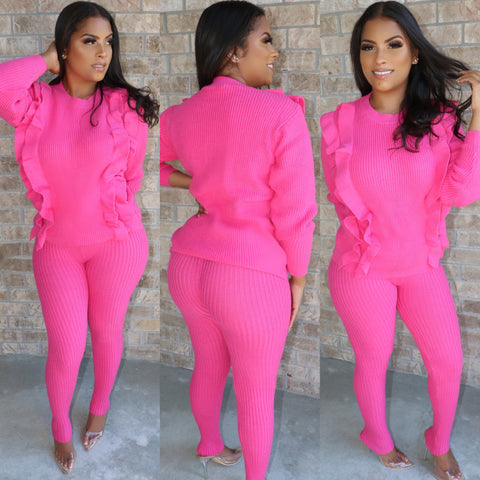 Ruffle Knit Set Fuchsia