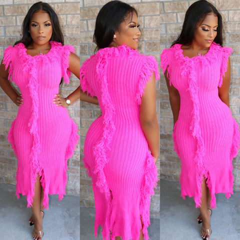 Fabulous Fringe Sweater Dress Fuchsia