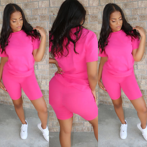 Crew Neck Biker Set Fuchsia