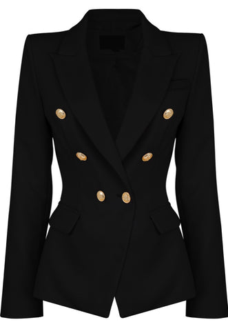 Milan Double Breast Blazer Black