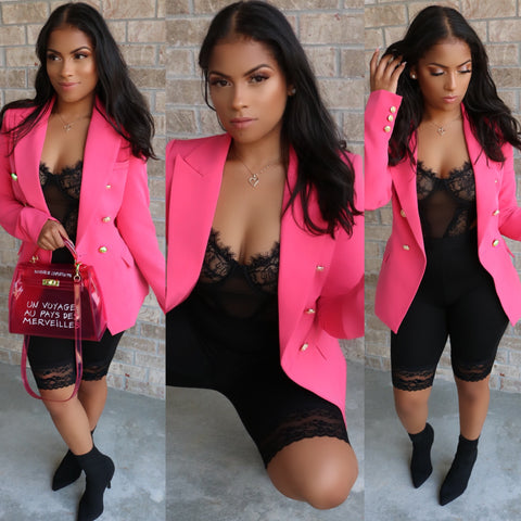Milan Double Breast Blazer Fuchsia