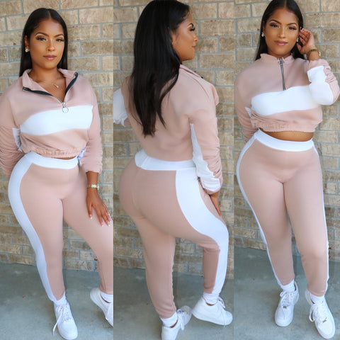 High Waist Jogger Set Nude