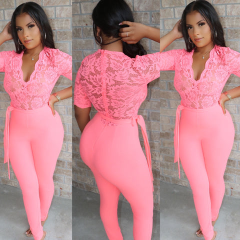 Neon Peach Lace Jumpsuit