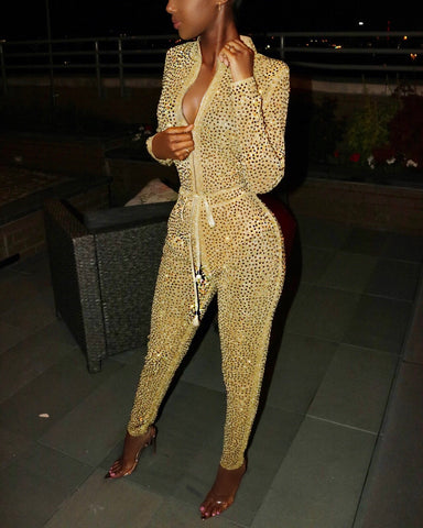 VVS Studded Jumpsuit Gold
