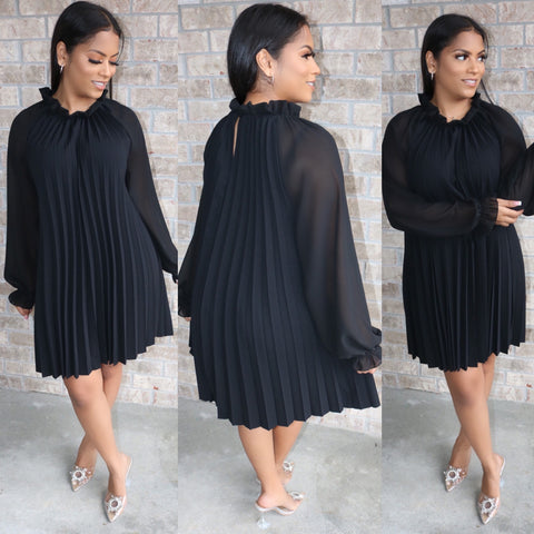 Paris pleated dress Black