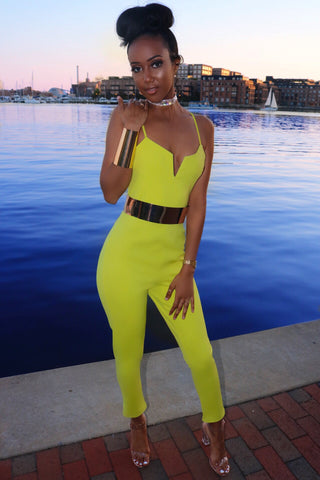 Ania Belted Jumpsuit Lime