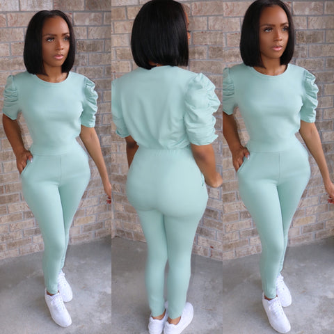 Pretty Puff Sleeve Set Mint