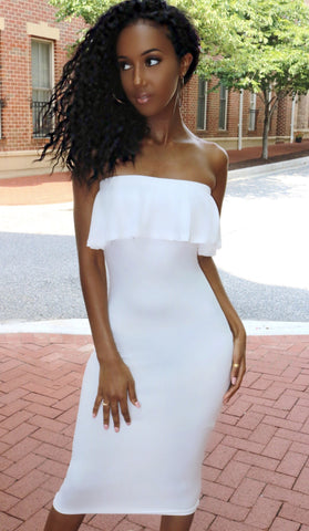 Ruffle Midi Dress Ivory