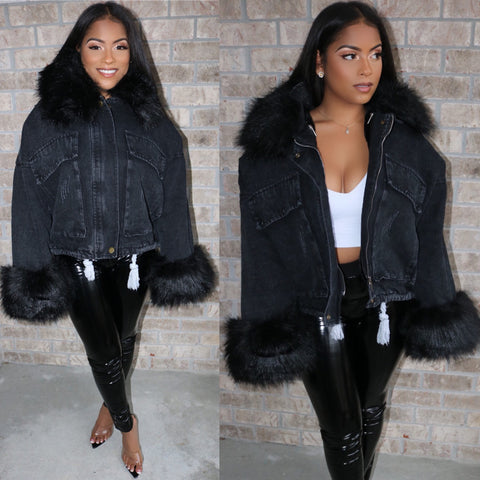 Denim Fur Jacket Black