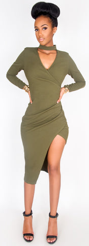 Alana Asymmetric Wrap Dress Olive - Sugar Popped  - 1