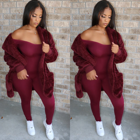 Cozy Chic Sweater Jacket Wine