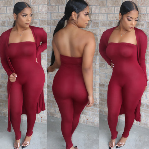 Flawless Fall Jumpsuit Duster Set Wine