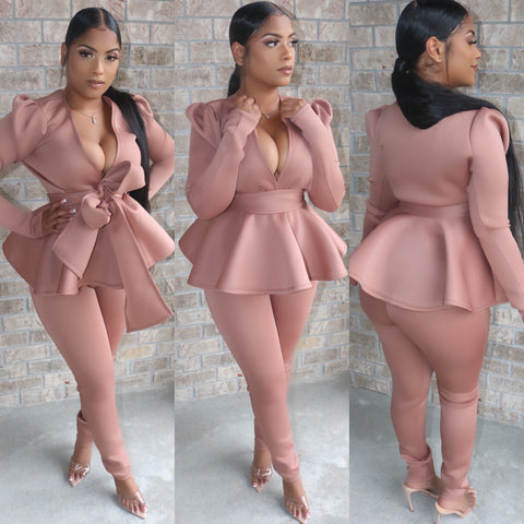 Paris Peplum Suit Mocha