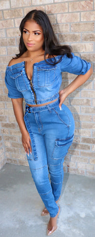 Off-shoulder Denim Set